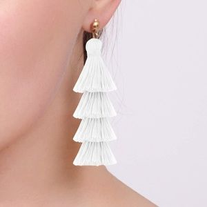 White tassel silver earring diamond sparkle boho